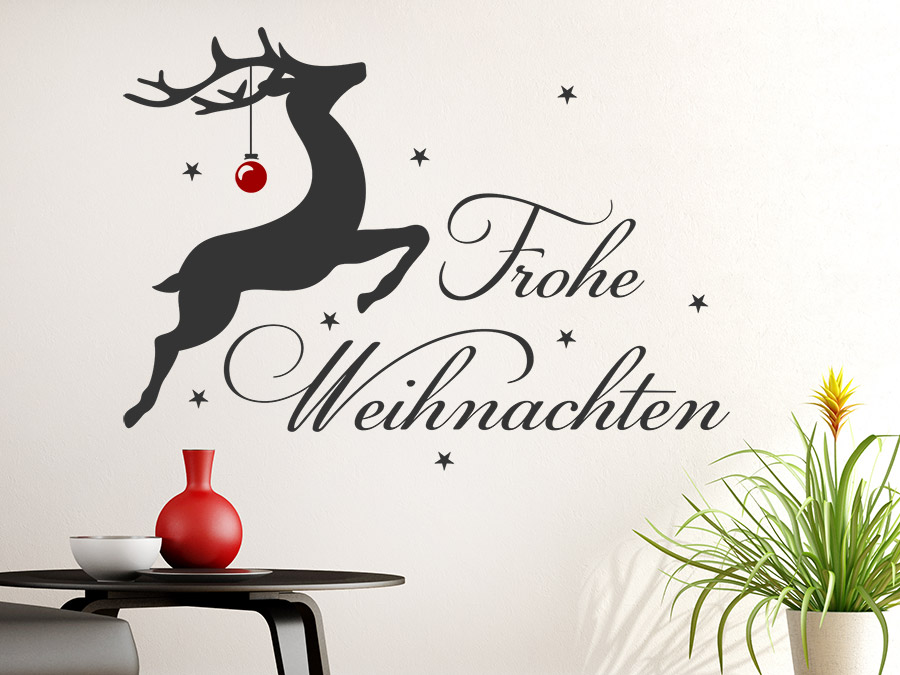wandtattoo frohe weihnachten mit rentier wandtattoo de. Black Bedroom Furniture Sets. Home Design Ideas