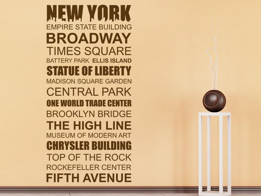 wandtattoo new york sehensw rdigkeiten wortbanner. Black Bedroom Furniture Sets. Home Design Ideas
