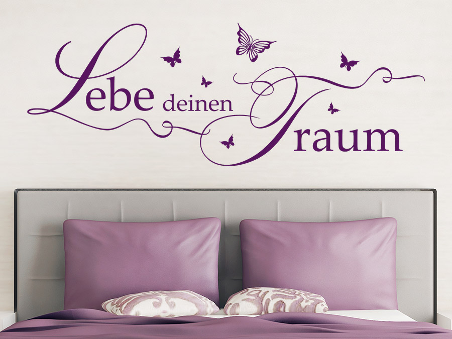 wandtattoo lebe deinen traum mit schmetterlingen von. Black Bedroom Furniture Sets. Home Design Ideas