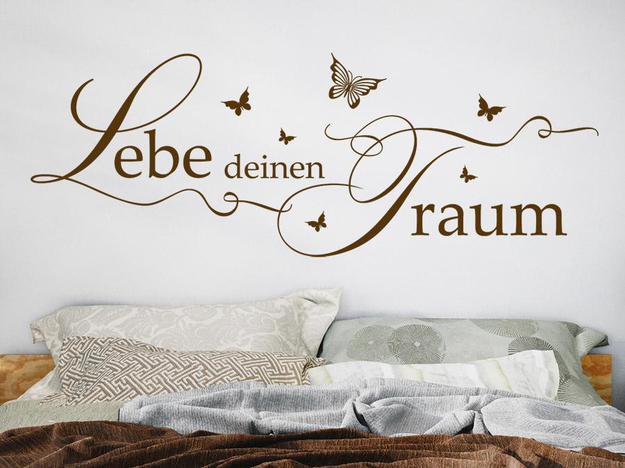 Wandtattoo Lebe Deinen Traum Mit Schmetterlingen Wandtattoo Lebe Deinen  Traum Mit Schmetterlingen Im Schlafzimmer ...