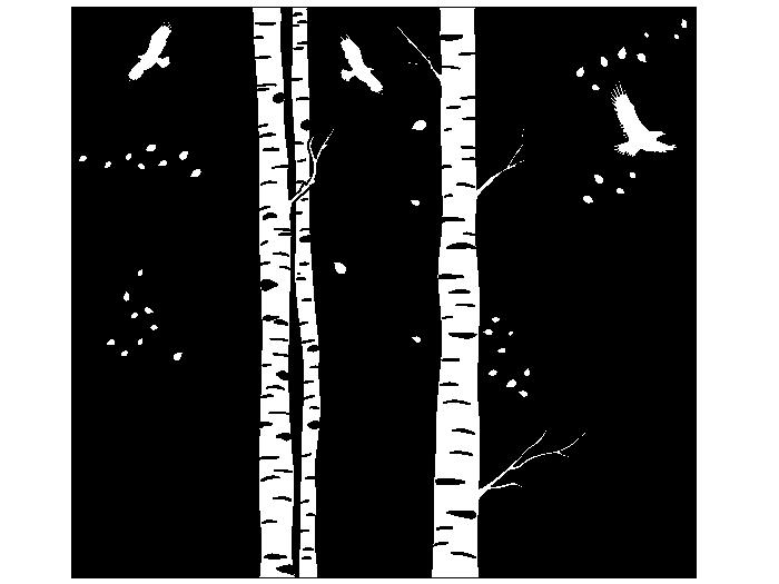 Ansicht Zweifarbige Baumstämme als Wandtattoo