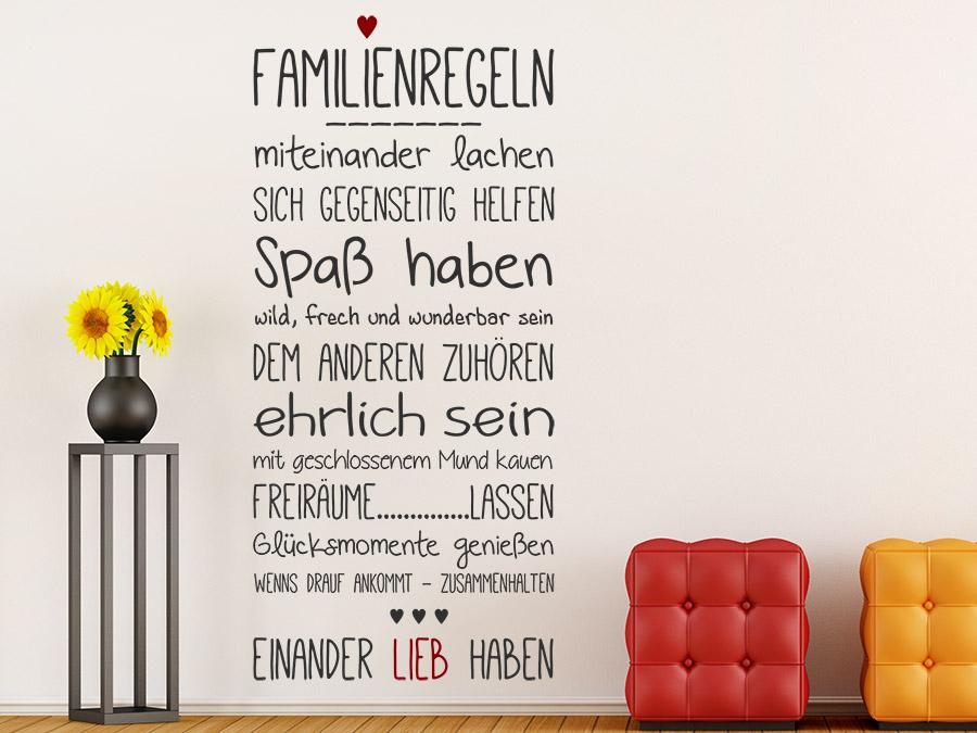 wandtattoo familienregeln mit herz von. Black Bedroom Furniture Sets. Home Design Ideas