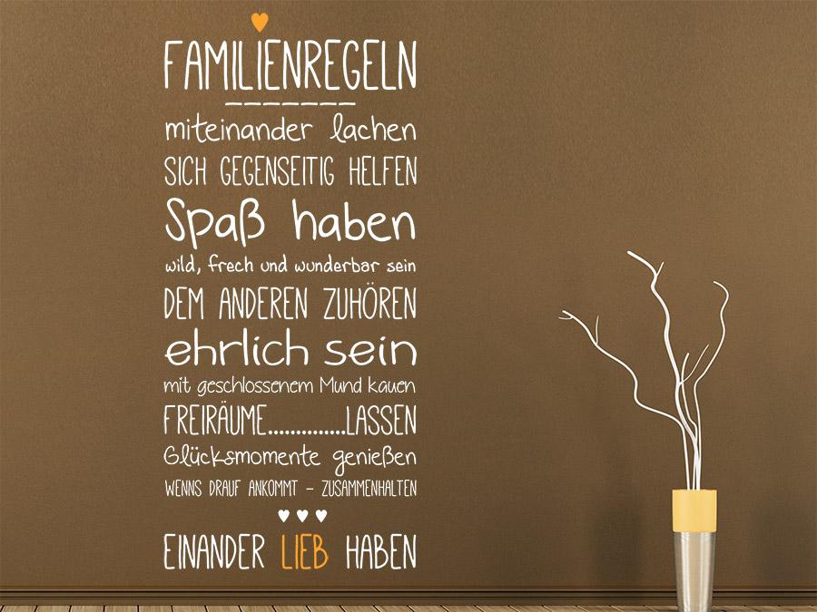 Wandtattoo Familienregeln mit Herz | WANDTATTOO.DE