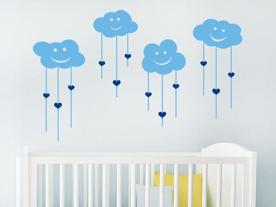 Wandtattoo lachende wolken mit herzen wandtattoo de - Babyzimmer tattoo ...