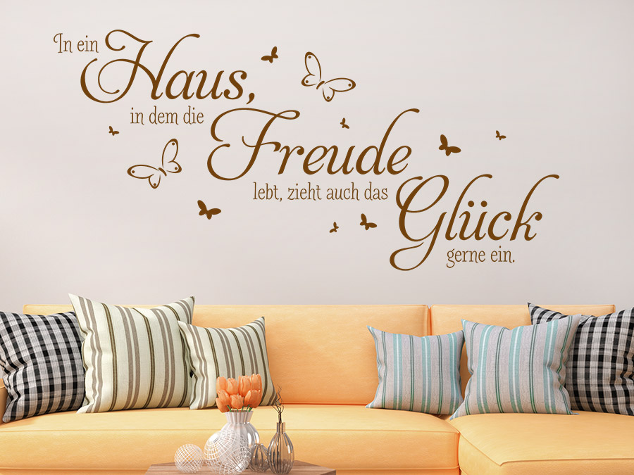 wandtattoo haus freude gl ck spruch wandtattoo de. Black Bedroom Furniture Sets. Home Design Ideas