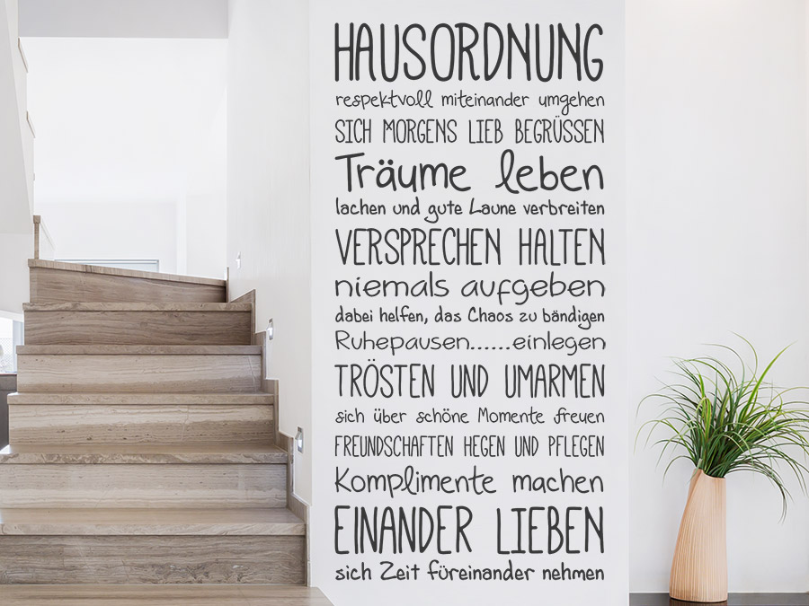 wandtattoo hausordnung spruchband schriften wandtattoo de. Black Bedroom Furniture Sets. Home Design Ideas