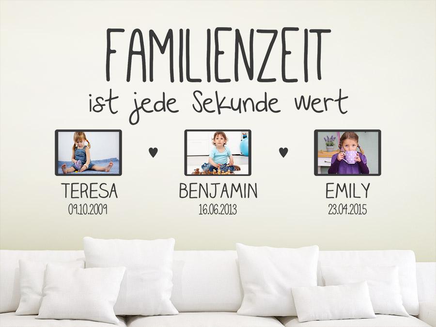 Wandtattoo fotorahmen familienzeit ist jede wandtattoo de - Kinderbilder wand ...