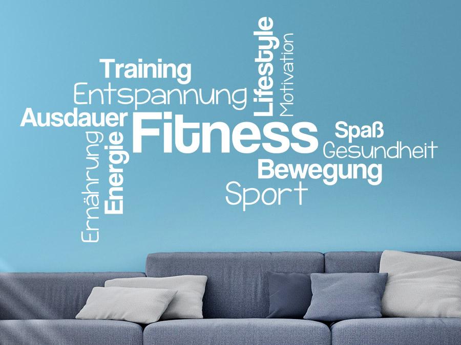 wandtattoo fitness wortwolke sport begriffe wandtattoo de. Black Bedroom Furniture Sets. Home Design Ideas
