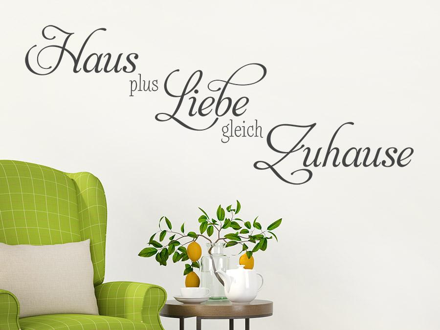 Wandtattoo Haus plus Liebe gleich Zuhause | WANDTATTOO.DE