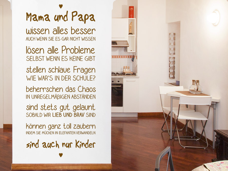 wandtattoo mama und papa spruchband von. Black Bedroom Furniture Sets. Home Design Ideas