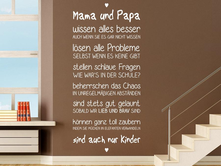 wandtattoo mama und papa spruchband wandtattoo de. Black Bedroom Furniture Sets. Home Design Ideas
