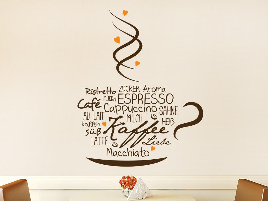 Wandtattoo Kaffeetasse mit Herzen von Wandtatoo.de
