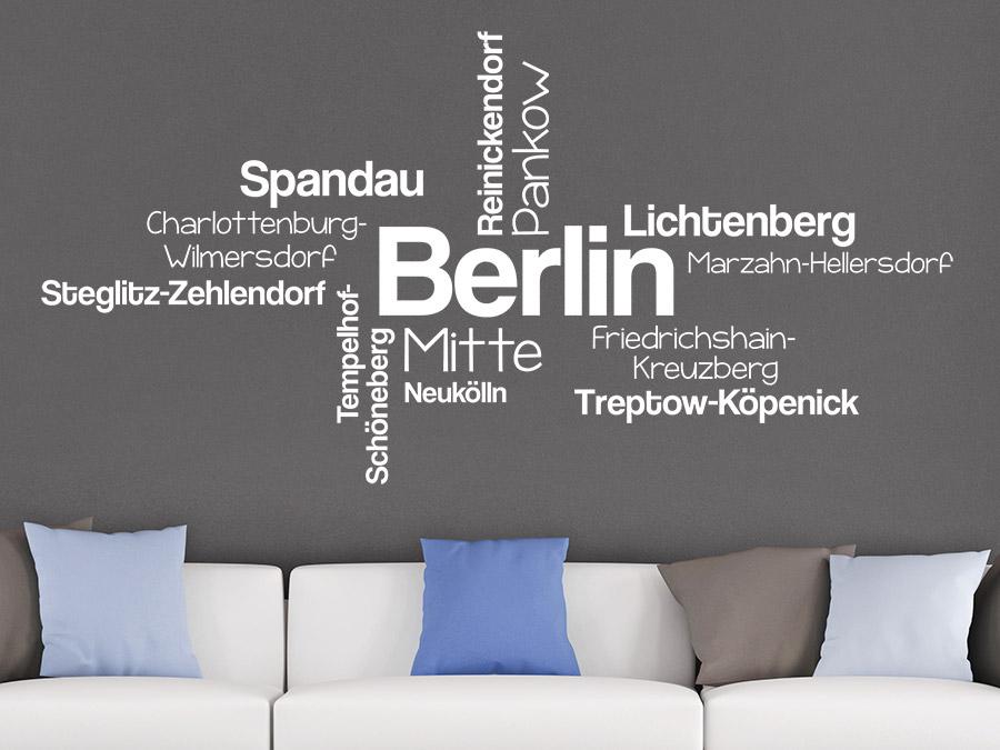 Berlin Wandtattoo wandtattoo berlin stadtteile wortwolke | wandtattoo.de