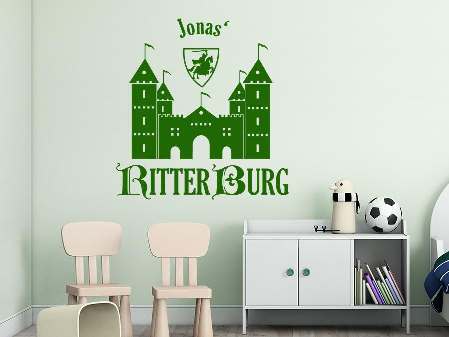 Wandtattoo Ritterburg mit Name | WANDTATTOO.DE