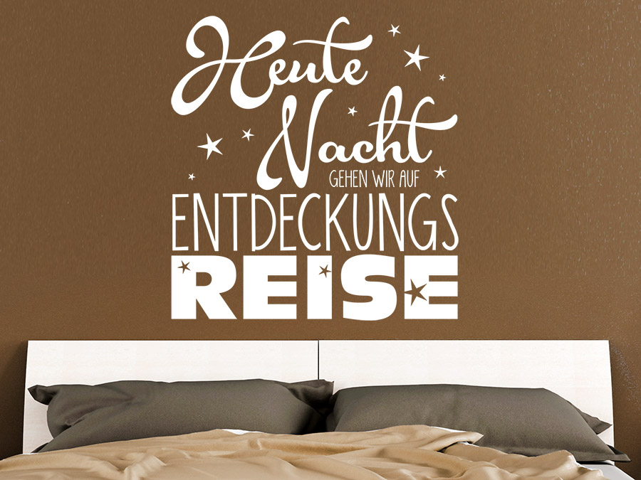 wandtattoo entdeckungsreise spruch schlafzimmer wandtattoo de. Black Bedroom Furniture Sets. Home Design Ideas