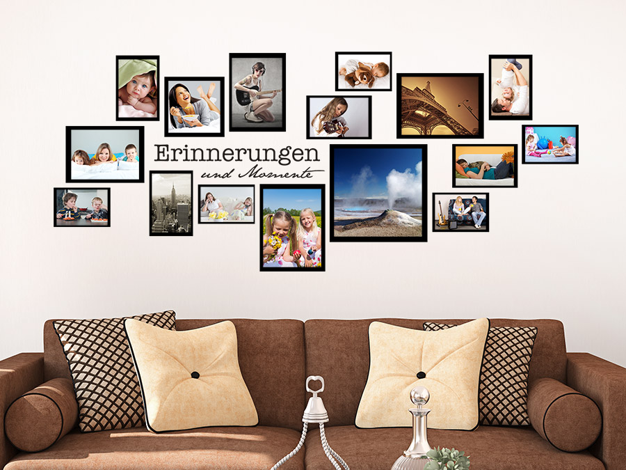 wandtattoo fotorahmen set erinnerungen wandtattoo de. Black Bedroom Furniture Sets. Home Design Ideas