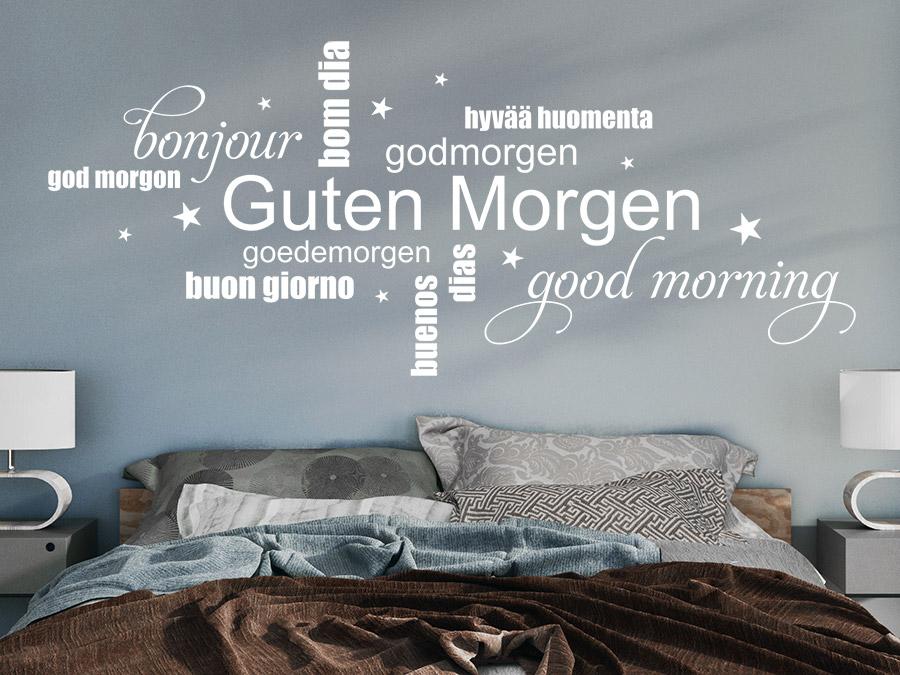 wandtattoo guten morgen wortwolke wandtattoo de. Black Bedroom Furniture Sets. Home Design Ideas