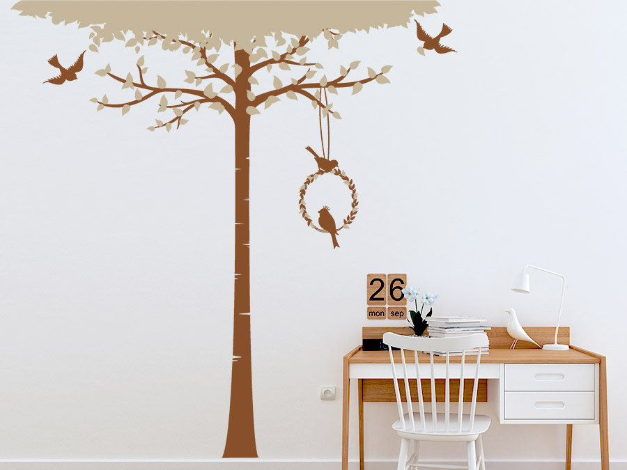 wandtattoo baum mit bl tterkranz wandtattoo de. Black Bedroom Furniture Sets. Home Design Ideas