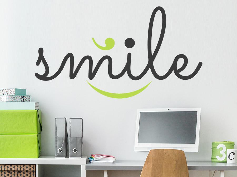 Wandtattoo smile zweifarbig von for Wanddesign flur