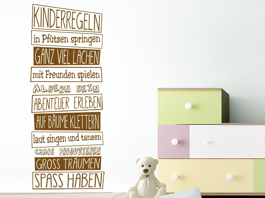 wandtattoo kinderregeln spruchbanner wandtattoo de. Black Bedroom Furniture Sets. Home Design Ideas