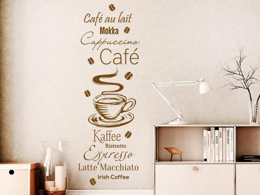 Wandtattoo Kaffee Spezialitäten mit Kaffeebohnen