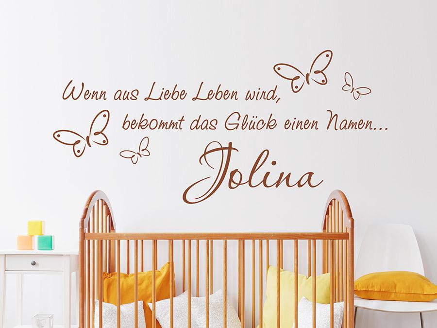 Wandtattoo Wenn aus Liebe Leben wird mit Name   Wandtattoos.de