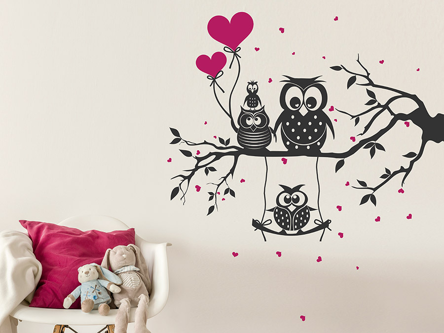 wandtattoo s e eulenfamilie f r kinder wandtattoo de. Black Bedroom Furniture Sets. Home Design Ideas