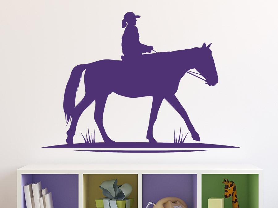 wandtattoo reitendes kind auf pferd wandtattoo de. Black Bedroom Furniture Sets. Home Design Ideas