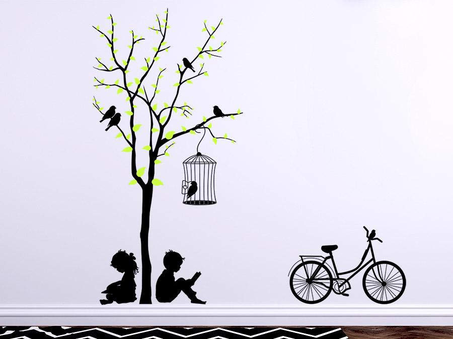 wandtattoo baum mit kindern und fahrrad von. Black Bedroom Furniture Sets. Home Design Ideas