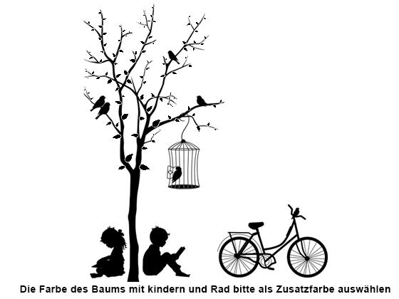 Wandtattoo Baum mit Kindern und Fahrrad | WANDTATTOO.DE