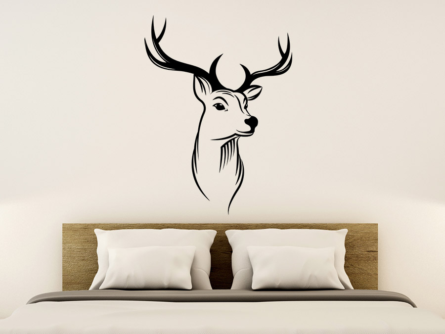 wandtattoo hirschkopf majest tischer hirsch wandtattoo de. Black Bedroom Furniture Sets. Home Design Ideas