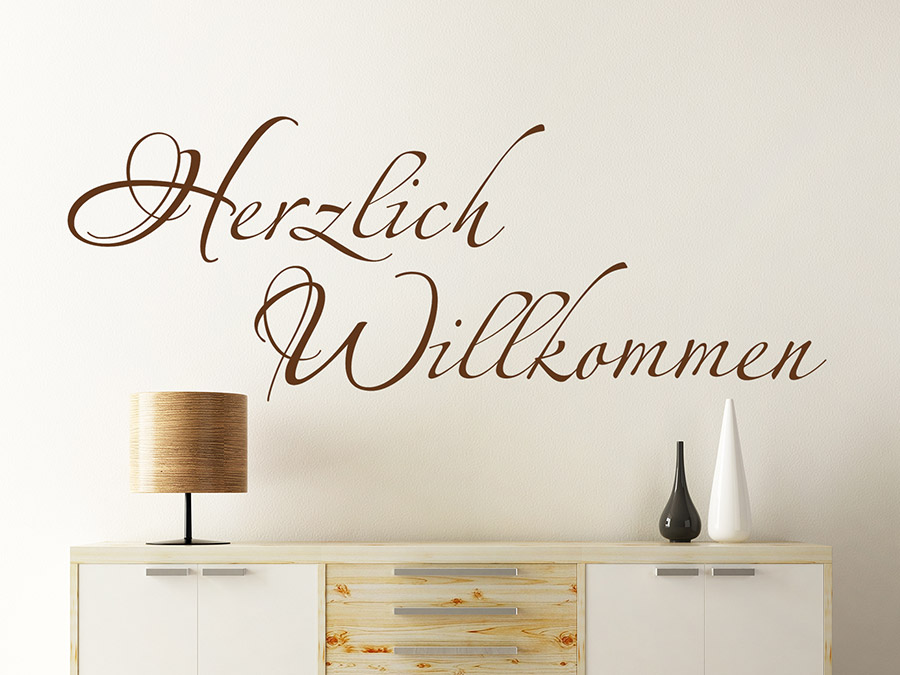 wandtattoo herzlich willkommen f r den flur. Black Bedroom Furniture Sets. Home Design Ideas