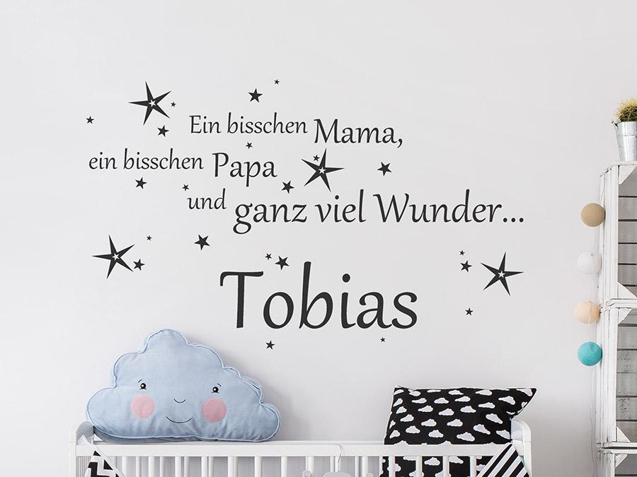 Wandtattoo mama papa wunder mit name wandtattoo de - Babyzimmer tattoo ...