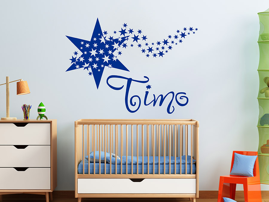 wandtattoo namensstern mit kindernamen wandtattoo de. Black Bedroom Furniture Sets. Home Design Ideas