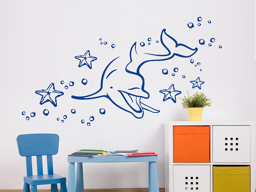 wandtattoo delfin reuniecollegenoetsele. Black Bedroom Furniture Sets. Home Design Ideas