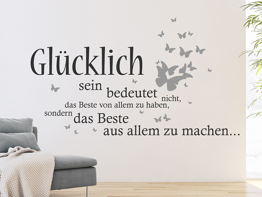 wandtattoo gl cklich sein bedeutet nicht wandtattoo de. Black Bedroom Furniture Sets. Home Design Ideas