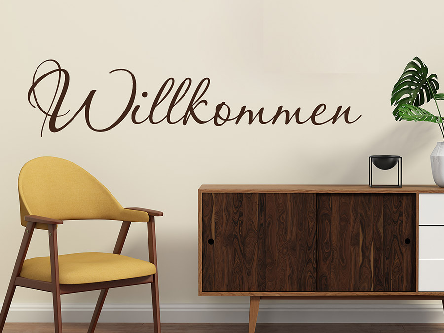 wandtattoo willkommen in handschrift bei. Black Bedroom Furniture Sets. Home Design Ideas