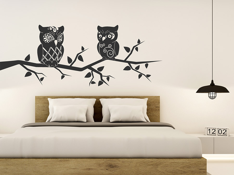 wandtattoo eulen auf dem ast wandtattoo de. Black Bedroom Furniture Sets. Home Design Ideas