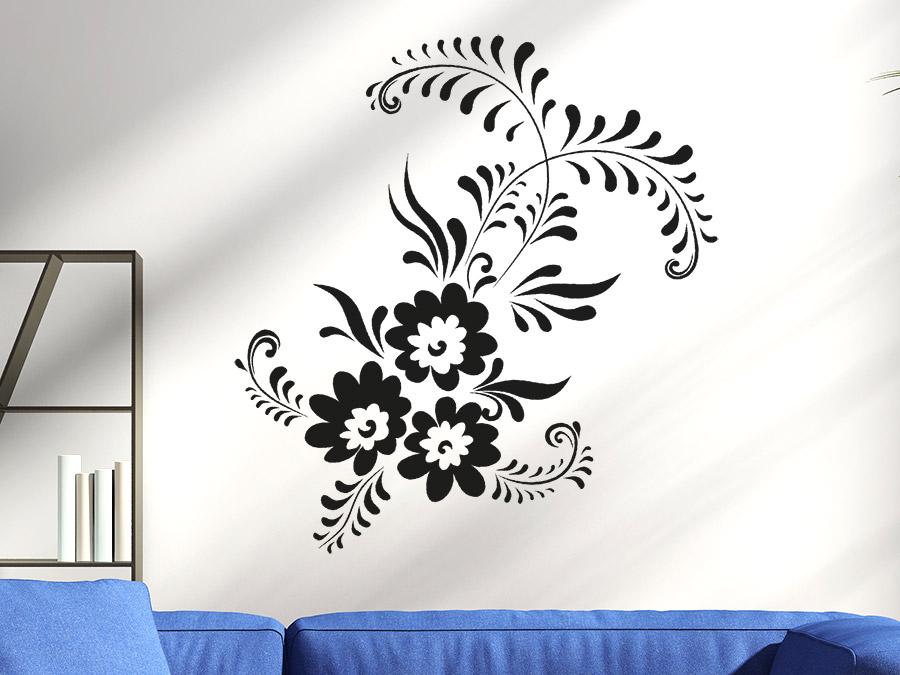 wandtattoo zierelement mit bl ten wandtattoo de. Black Bedroom Furniture Sets. Home Design Ideas