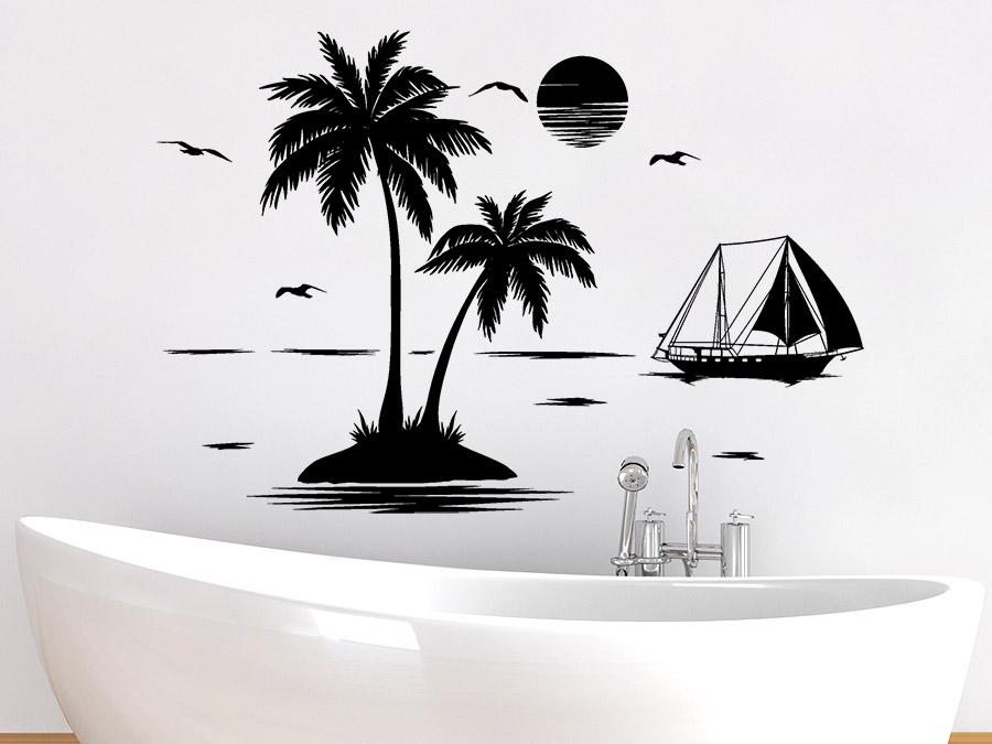 Wandtattoo Palmen Insel Mit Segelschiff Wandtattoo De