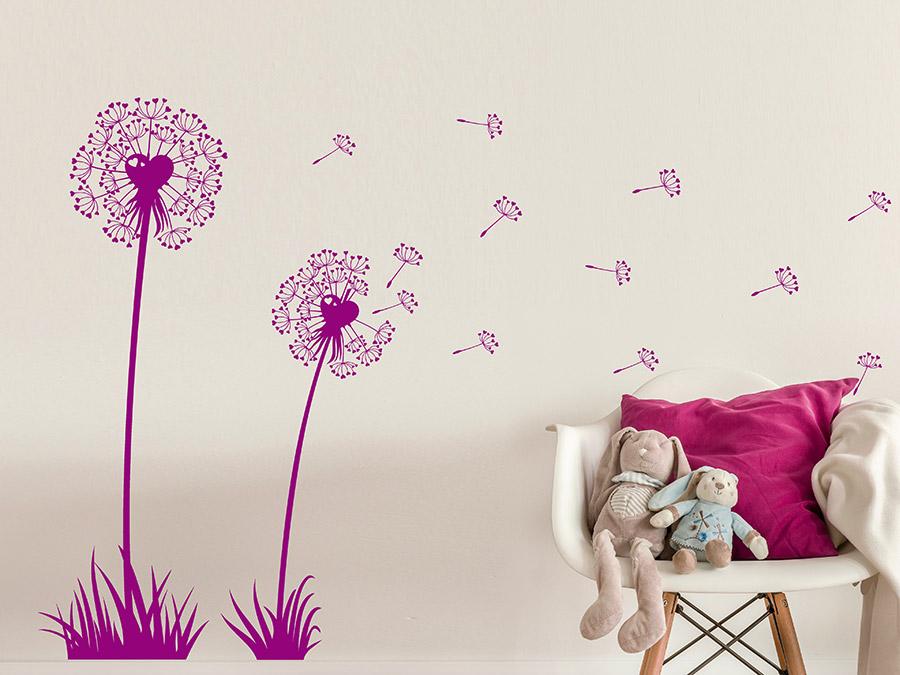 Wandtattoo Süße Pusteblumen mit Herzen bei Homesticker