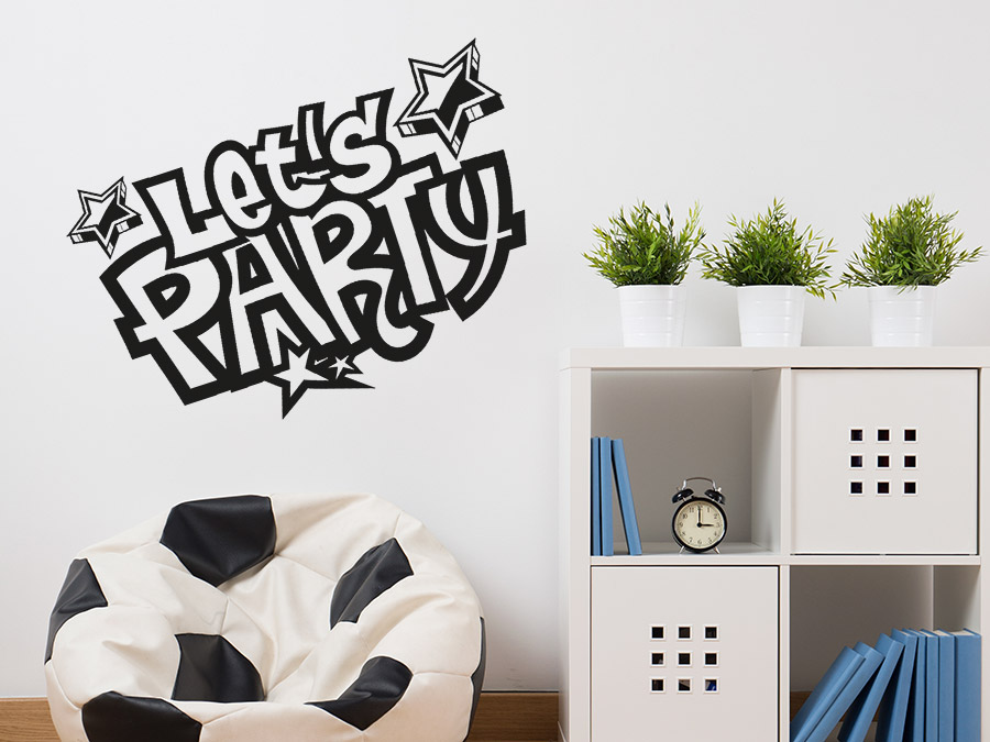 wandtattoo let 39 s party wandtattoo de. Black Bedroom Furniture Sets. Home Design Ideas