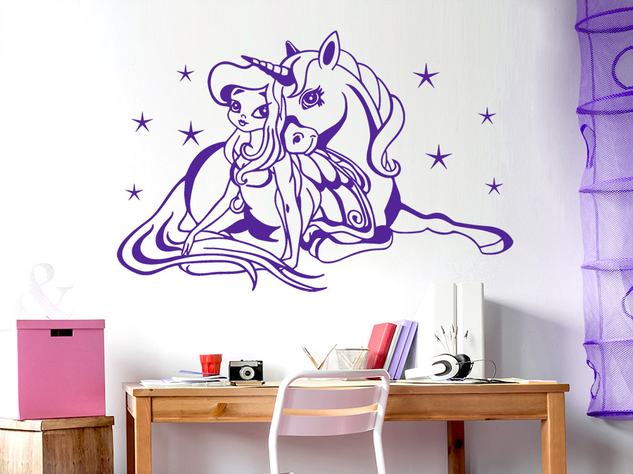 wandtattoo prinzessin mit einhorn wandtattoo de. Black Bedroom Furniture Sets. Home Design Ideas