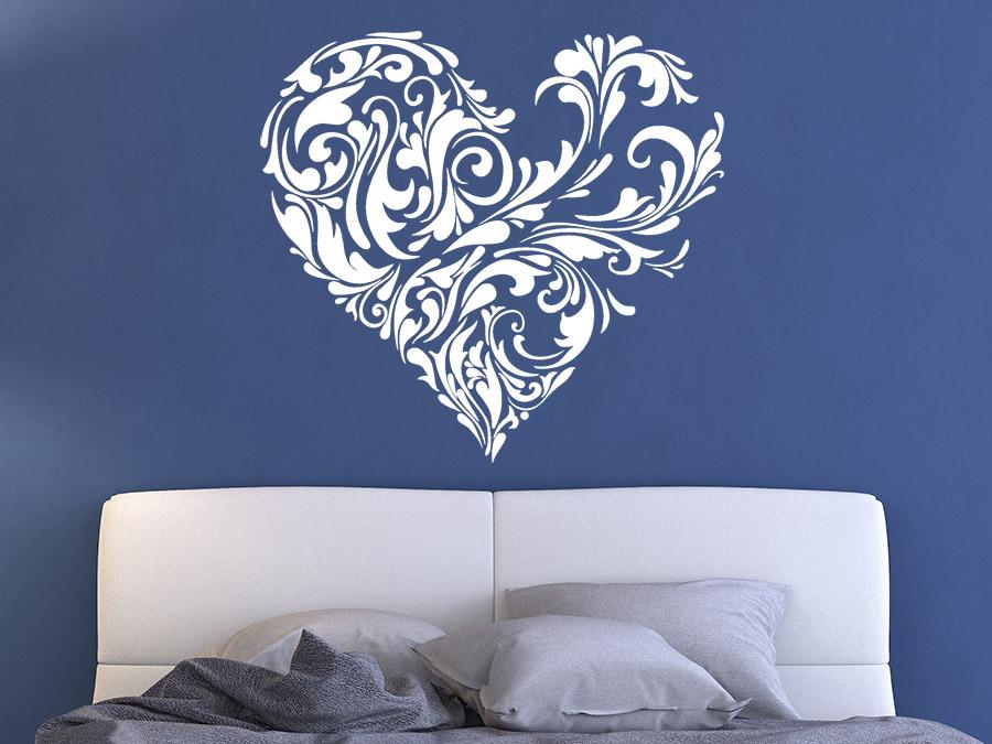 wandtattoo verziertes herz ornament wandtattoo de. Black Bedroom Furniture Sets. Home Design Ideas