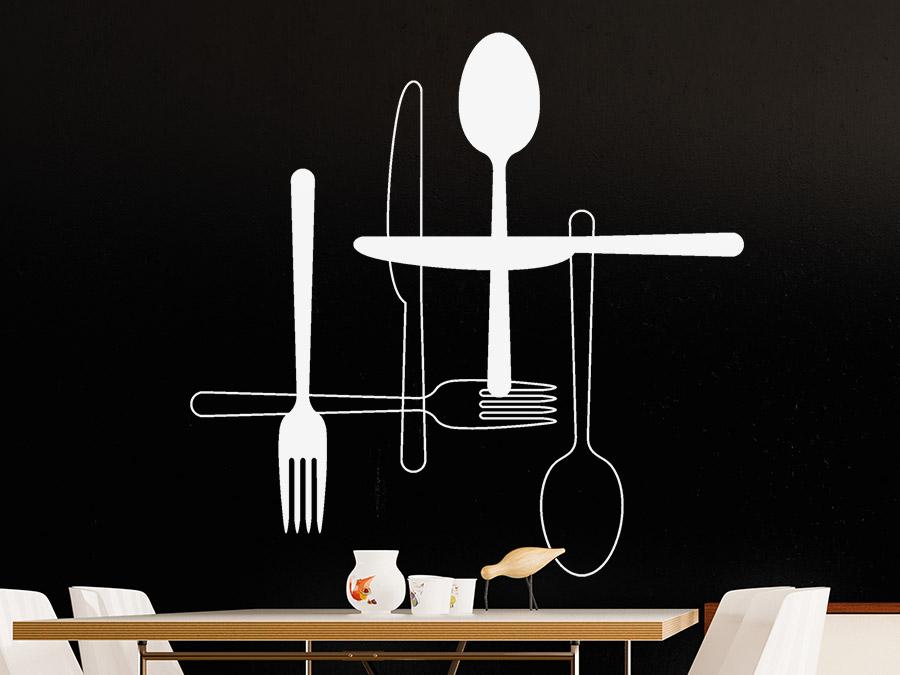 wandtattoo messer gabel l ffel. Black Bedroom Furniture Sets. Home Design Ideas