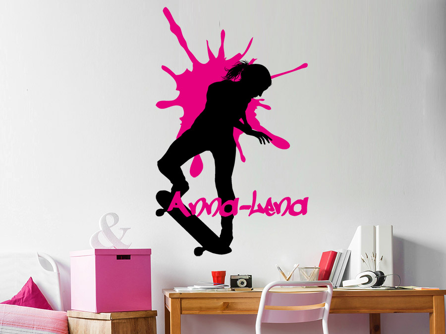 Wandtattoo Skater Girl mit Wunschname