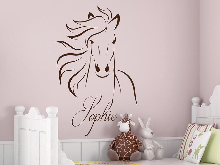 Wandtattoo pferd mit wunschname pferdekopf wandtattoo de - Pferde bordure kinderzimmer ...