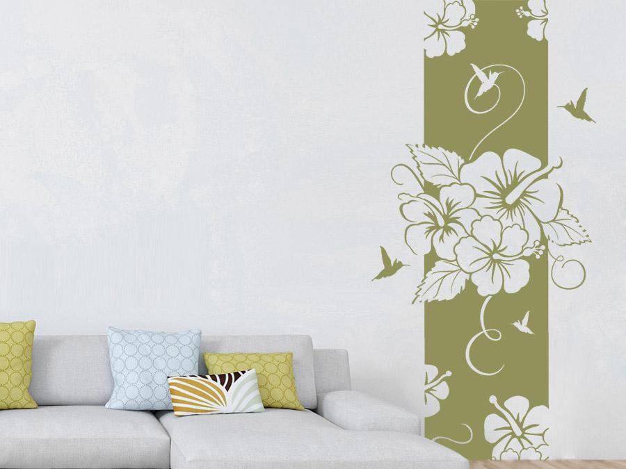 Wandtattoo banner hibiscus wandbanner xxl wandtattoo de for Wandtattoo banner