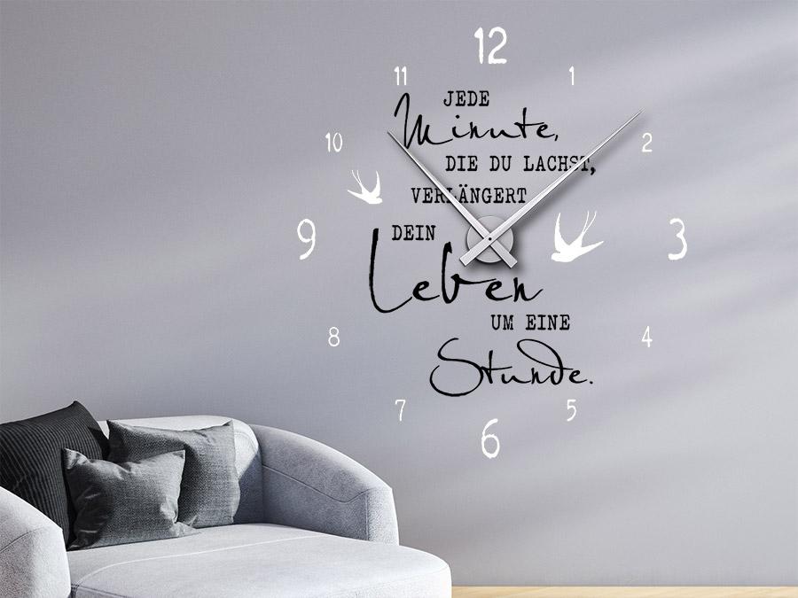 Wandtattoo Uhr Mit Spruch Das Leben Verlangern Bei Homesticker De
