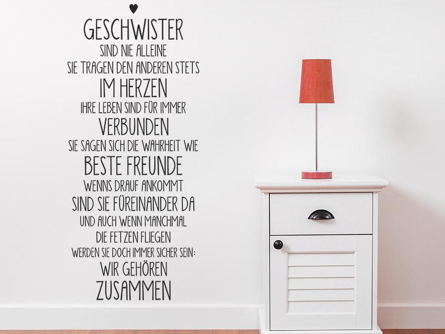 wandtattoo geschwister sind nie alleine wandtattoo de. Black Bedroom Furniture Sets. Home Design Ideas